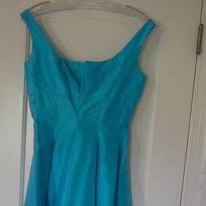 Aqua Talbot Satin Tea Dress (4)